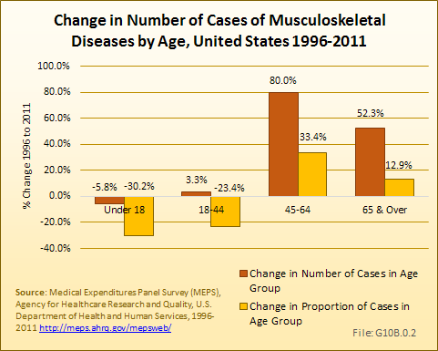 Change in Numbe of Cases of Musculoskeletal Diseases, by Age Group, 1996-2011